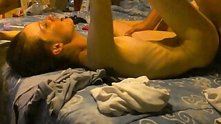 Amateur wife lets two guys creampie her little pussy while they film it - 41:00