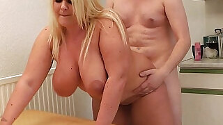 6:00: Blonde bbw gets cunt licked and doggy style fucked by boss