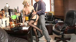 5:00: Teamskeet Sexy busty blonde Donna Bell office deepthroat and anal sex