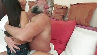 6:00: Teen blonde gets fucked by geriatrics cock from behind