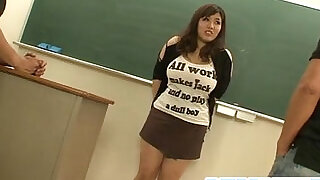 Plump and busty student fucked by two hung and horny teachers - 8:00