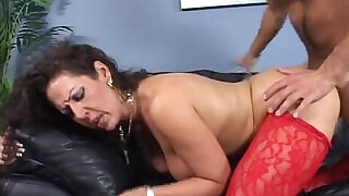 7:00: Step mom with tits banged doggy on couch