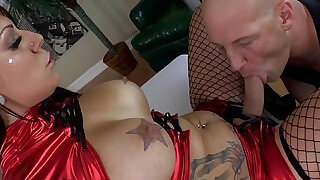 6:00: Bigtit mistress pegs and gives rimjob