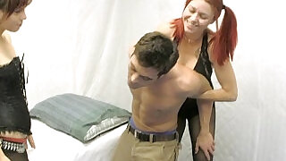 1:18: Sexy lesbians trick lance into ballbusting for fun