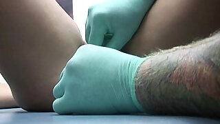 very painful pussy and clit hood piercing on cute webcam girl - 10:00