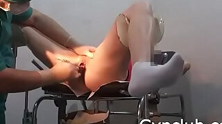 Examination on the gynecological chair of a dildo and a vibrator - 4:00