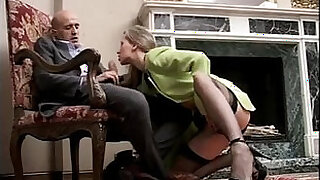 Classy and sexy girl in high heels and stockings sucking cock - 14:00
