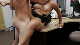 7:00: Bigbooty pawnshop slut rides white cock for cash