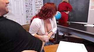 Busty Plump MILF gets Doubled Teamed by horny students - 5:00