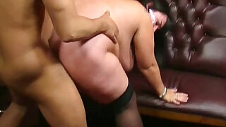 6:00: BBW barmaid is doggystyled at workplace