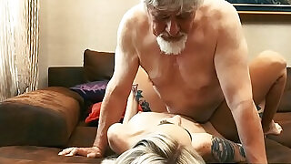 10:00: Old and Young Teen slut Fucked by Old man tight pussy licking