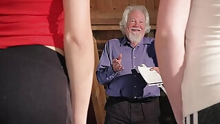 6:00: Kiara and Mia both fuck an old man and share his cum after a hot fuck