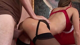 18:00: Sexy Santa Girl in Stockings gets Fuck on the couch