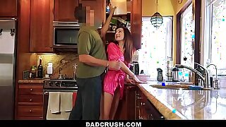 8:11: Petite Abella Voss Fuck in the Kitchen